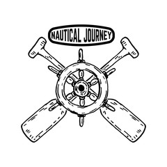 Nautical journey Emblem with Ship's steering wheel with crossed paddles . Design element for poster,sign, badge.
