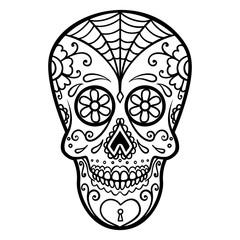 Illustration of mexican sugar skull. Day of the dead. Dia de los muertos. Design element for logo, label, emblem, sign, poster, t shirt.