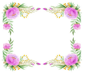 Floral Frame In Watercolor