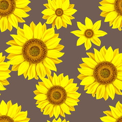 Seamless pattern with sunflowers. Vector illustration.