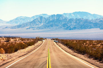 Photo sur Plexiglas Route 66 View from the Route 66, Mojave Desert, Southern California, United States.