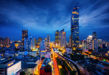 Wall Mural - Bangkok city night view from Silom Business center