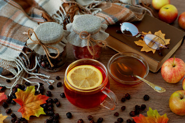 Tea for a healthy diet in cold weather. Tea with kalina, currant, honey, lemon and dried rosehip to create autumn coziness. Therapeutic tea and maple leaves in the autumn season.
