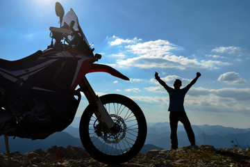 motorbike adventure and discovery happiness in high mountains