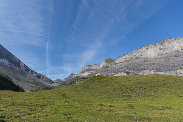 Amazing HDR landscape on high mountain route through the Gemmi Pass in Switzerland
