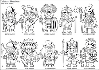 cartoon warriors of the colonial era, set of vector itages
