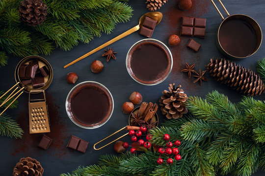 Hot chocolate for cold winter days or christmas and new year celebration