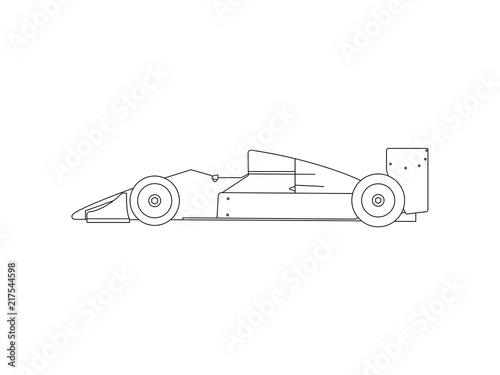 Formula 1 race car line drawing vector\