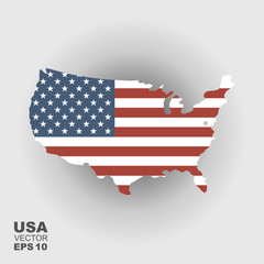 Map of USA with an official flag. Illustration on gradient background