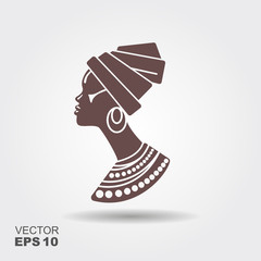 Portrait beautiful African woman in traditional turban