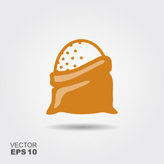 Open sack with flour, cereals or sugar. Stylized vector icon