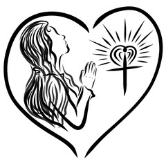 A woman praying to God with a headscarf and a shining cross in the heart