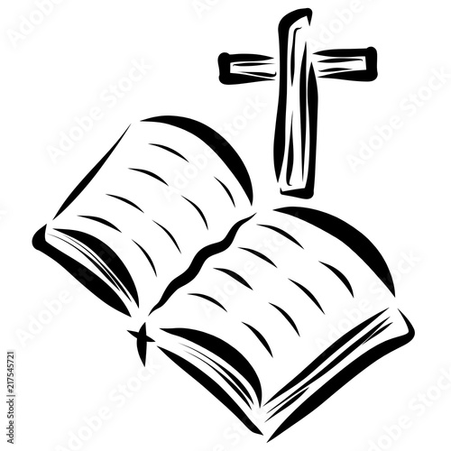 open bible and cross christianity and faith stock photo and