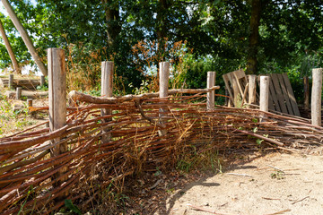 Wooden fence of branches