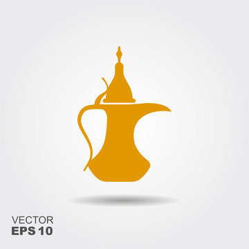 Traditional arabic coffee pot. Flat vector icon