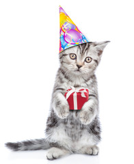 Cute kitten in birthday hat holding gift box. isolated on white background