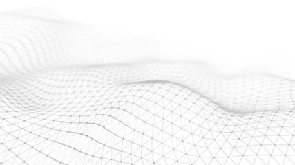 Data technology illustration. Abstract white futuristic background. Wave with connecting dots and...