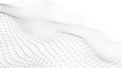Data technology illustration. Abstract white futuristic background. Wave with connecting dots and lines on dark background. Wave of particles. 3D rendering.
