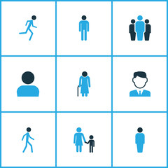 Person icons colored set with running, man, team and other personal data