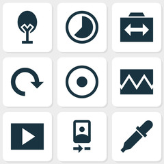 Image icons set with timelapse, rotate, slideshow and other accelerated