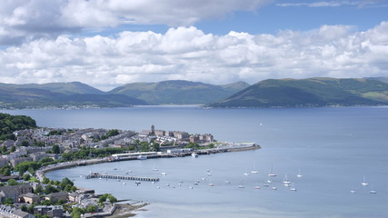 View of Gourock coastal town from Lyle Hill in Greenock during the summer