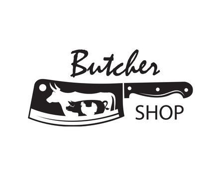 monochrome butcher shop emblem of kithen knife, pig, cow and chicken