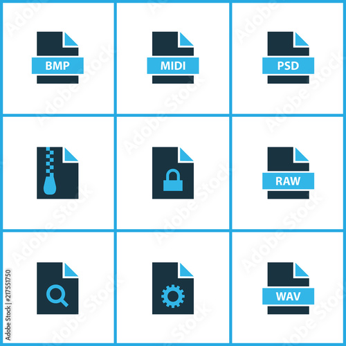 Document icons colored set with search file, file archive, file bmp