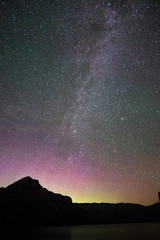 Aurora lights and milky way in Banff National Park