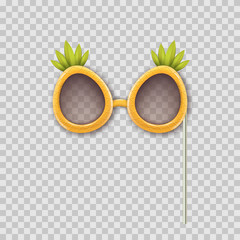 Vector realistic 3d illustration of photo booth props pineapple glasses. Object isolated on transparent background. Summer funky photo design element weddings, birthdays, and celebrations.