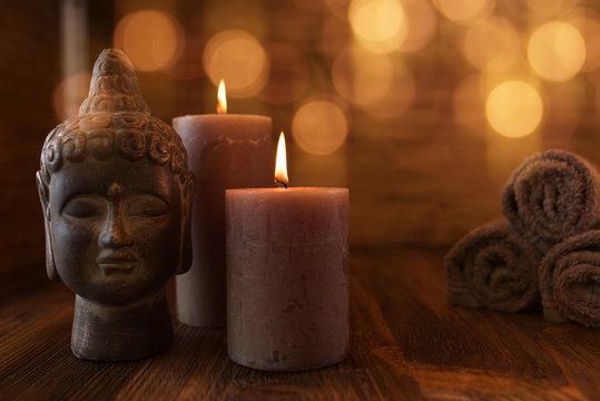 Beauty wellness still life with head of buddha