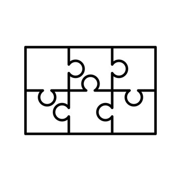 6 white puzzles pieces arranged in a rectangle shape. Jigsaw Puzzle template ready for print. Cutting guidelines on white