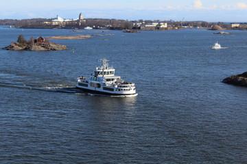 Private boat cruising in Baltic sea landscape picture