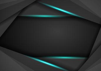 abstract metallic black blue frame sport design concept innovation background.