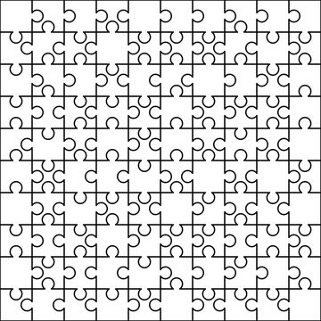 100 white puzzles pieces arranged in a square. Jigsaw Puzzle template ready for print. Cutting guidelines on white