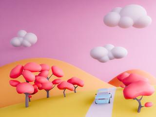 Photo sur Plexiglas Rose banbon autumn mountains pastel background , 3d render