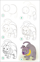 Page shows how to learn step by step to draw a cute little puppy. Developing children skills for drawing and coloring. Vector image.