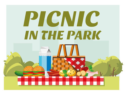 Recreation in nature. Picnic. Picnic in the park. Summer picnic in the park. The concept of picnic and outdoor recreation. Flat style. Flat design. Vector illustration Eps10 file