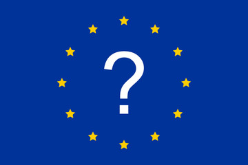 Question mark and the European Union as a symbol