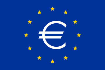 symbol of the eu flag in euro zone and monetary union