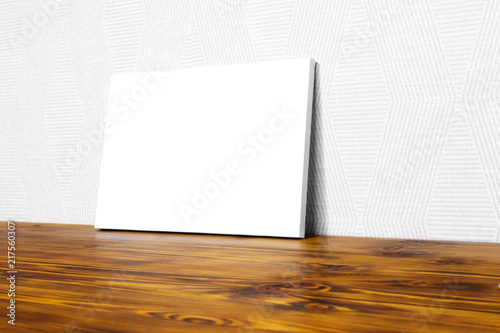 Mockup poster  Canvas template  White wall and wooden floor