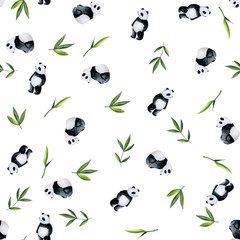Pandas and bamboo pattern on white background. Handpainted watercolor