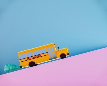 cute school bus on road 3d render.