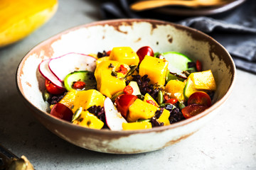 Mango with Riceberry,Goji berry and Radish Salad