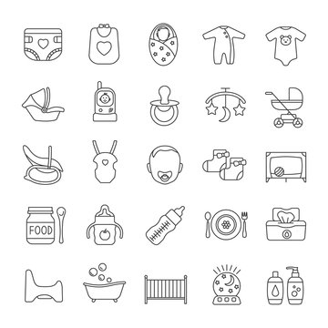 Childcare linear icons set
