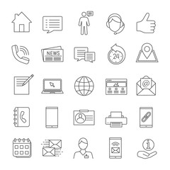 Information center linear icons set