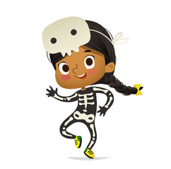 African-American girl wearing skeletom costume and skull mask dancing. Girl kid in Halloween costume dancing and laughing. Vector. Character for Halloween party, invitations, web, mascot. Isolated