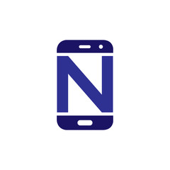 N Initial letter with Smart phone logo icon vector