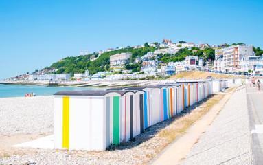 Wall Mural - Le Havre, cabanes de la plage en Normandie, France