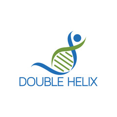 Double Helix dna with people logo vector template