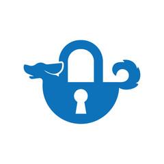 Dog with lock key logo icon vector